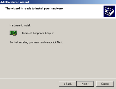 Select next in the following screen to install your loopback adapter