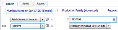 Locate the appropriate version of your patch by specifying a patch number and operating system on the patch search interface