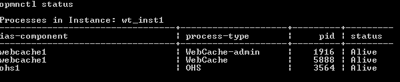 listing of components registered in OPMN for a particular instance